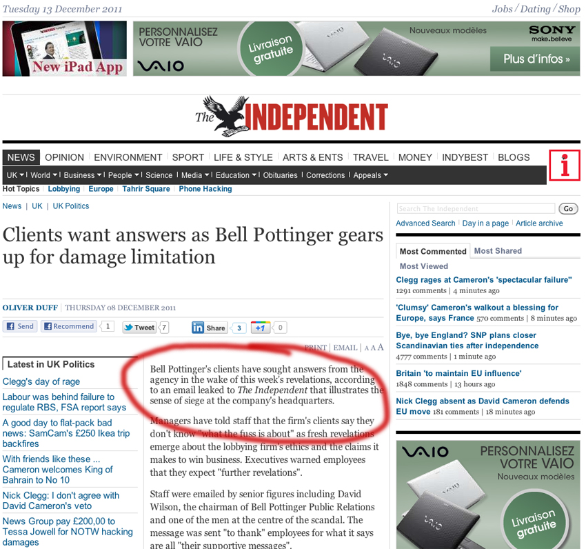 Bell Pottinger sur The Independant, déc. 2011